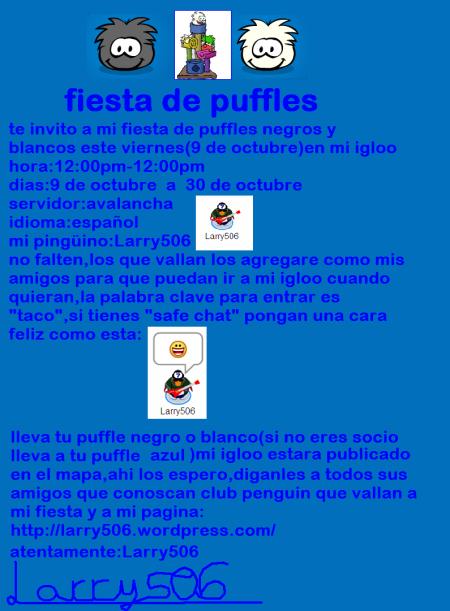 invitacion para puffles negros y blancos